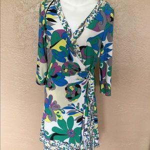 Nine West Modern Print Wrap Dress 10 M EUC
